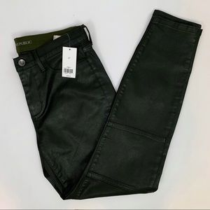 BR faux leather pants dark olive green